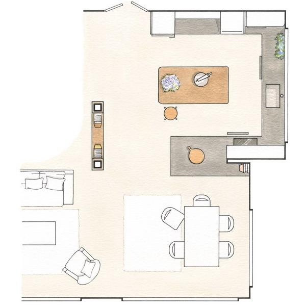 2 гостиные с прилегающими зонами, идеи и планы комнат