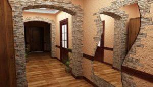 Варианты облицовки гостиной искусственным камнем