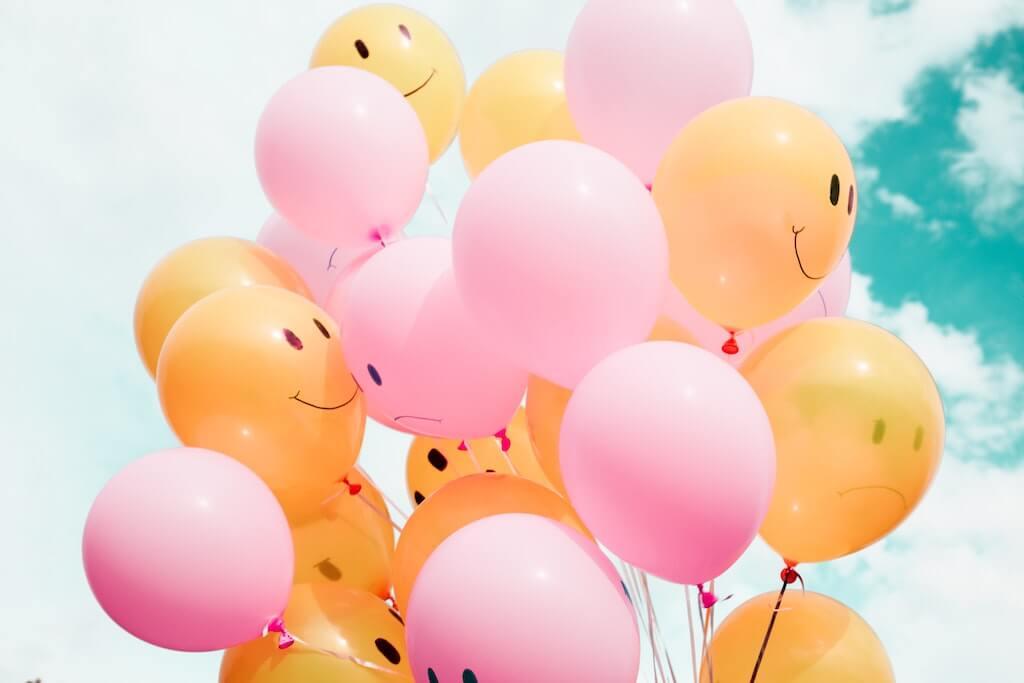 желто-розовые шары